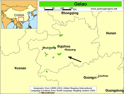 Map of Gelao in China