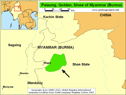 Map of Palaung, Shwe in Myanmar (Burma)