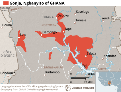 Map of Gonja,  Ngbanyito in Ghana