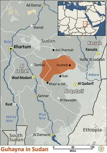 Map of Guhayna in Sudan
