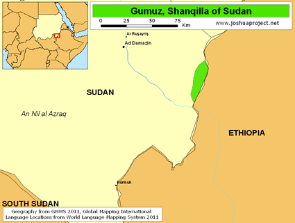 Map of Gumuz, Shanqilla in Sudan