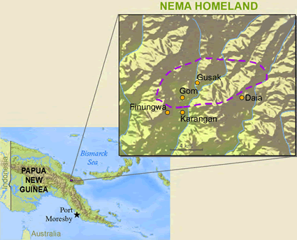 Map of Gusan in Papua New Guinea