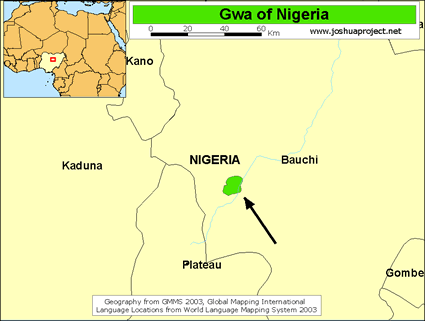 Map of Gwa in Nigeria