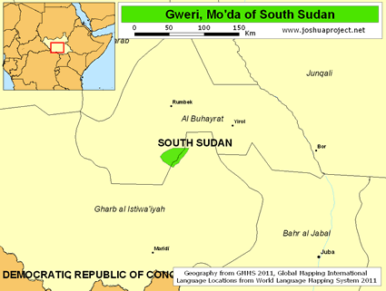 Map of Gweri, Mo'da in South Sudan