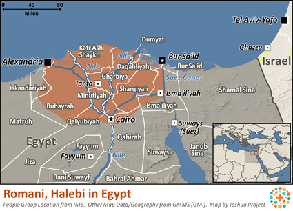 Map of Romani, Halebi in Egypt
