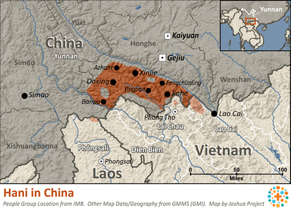 Map of Hani in China
