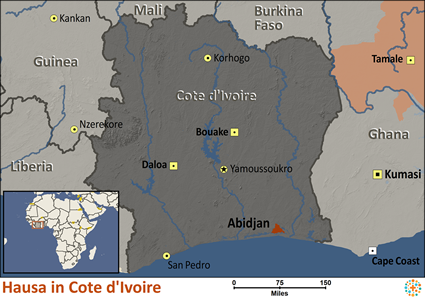 Map of Hausa in Côte d'Ivoire