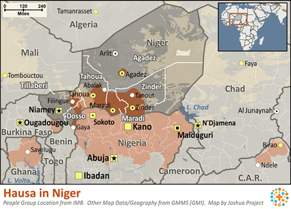 Map of Hausa in Niger