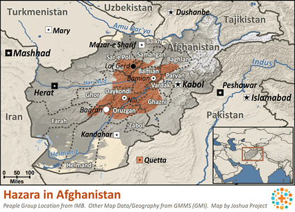 Map of Hazara in Afghanistan