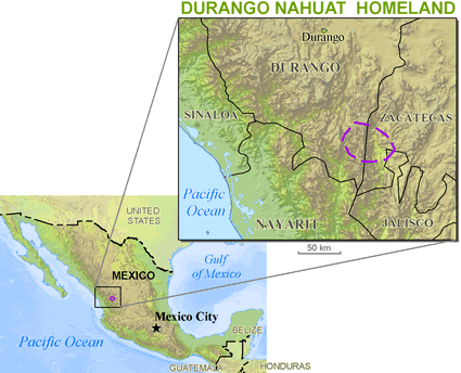 Map of Nahuatl, Western Durango in Mexico