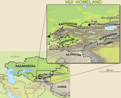 Map of Dungan in Uzbekistan