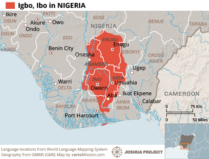 Igbo in nigeria joshua project ethnologue language map ethnolinguistic map or other map gumiabroncs