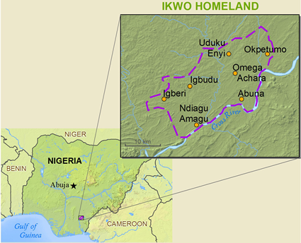 Map of Ikwo in Nigeria