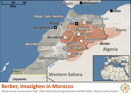 Map of Berber, Imazighen in Morocco