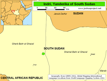 Map of Indri, Yanderika in South Sudan