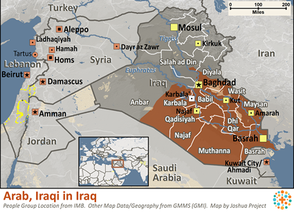 Map of Arab, Iraqi in Iraq