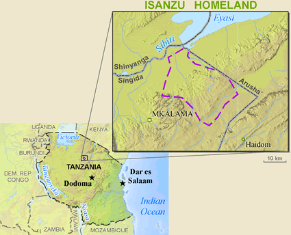 Map of Isanzu in Tanzania