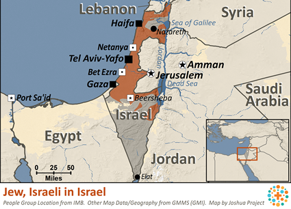 Map of Jew, Israeli in Israel