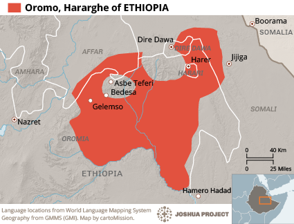 Map of Oromo, Hararghe in Ethiopia