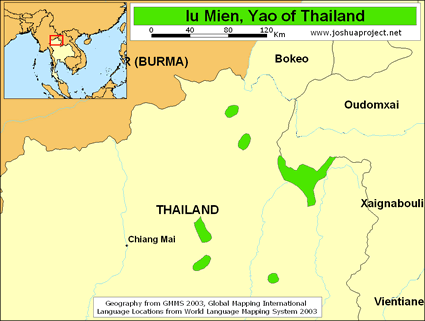 Map of Iu Mien in Thailand
