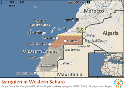 Map of Izarguien in Western Sahara