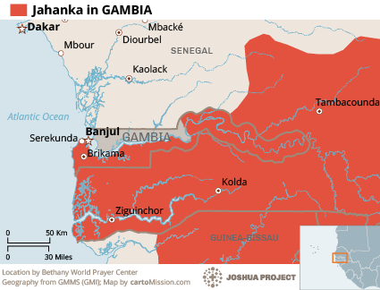 Map of Jahanka in Gambia