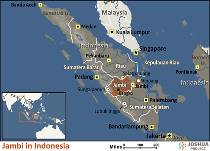 Map of Jambi in Indonesia