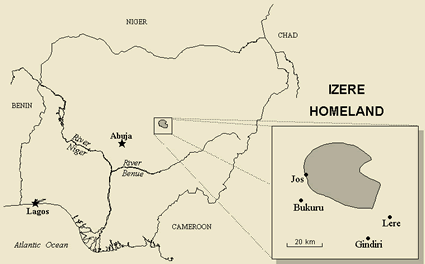 Map of Afizere, Izere in Nigeria