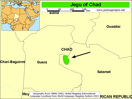 Map of Jegu in Chad