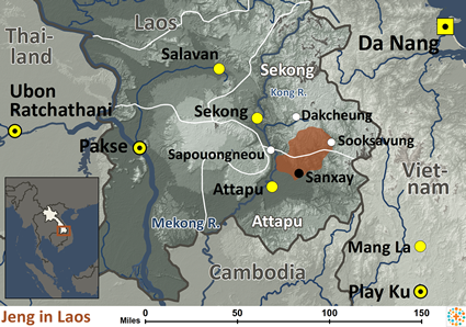 Map of Jeng in Laos
