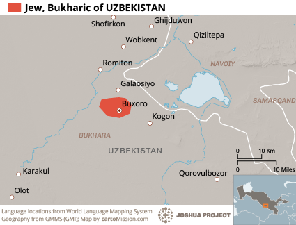 Map of Jew, Bukharic Speaking in Uzbekistan