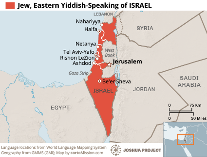 Map of Jew, Eastern Yiddish-speaking in Israel