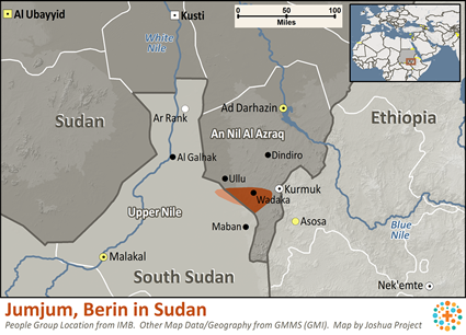 Map of Jumjum, Berin in Sudan