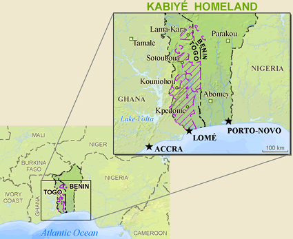 Map of Kabiye in Togo