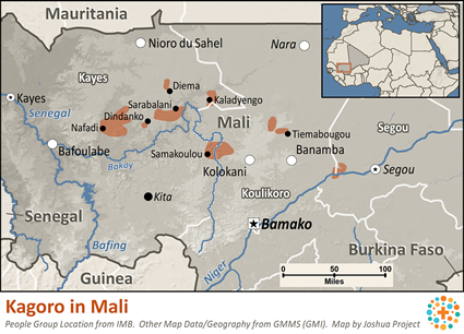 Map of Kagoro in Mali