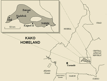 Map of Kako in Cameroon