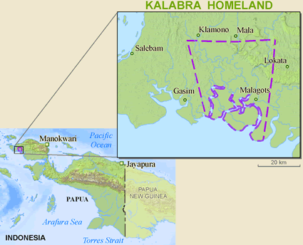 Map of Kalabra in Indonesia