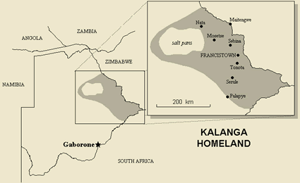 Map of Kalanga in Zimbabwe