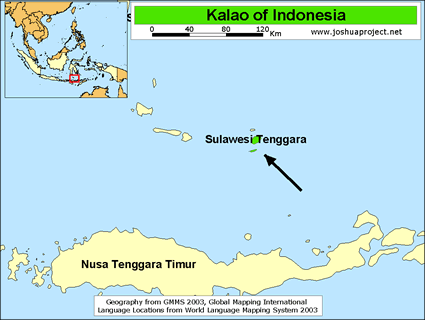 Map of Kalao in Indonesia
