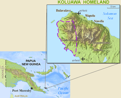 Map of Kalokalo in Papua New Guinea