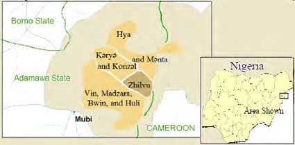 Map of Kamwe, Higi in Nigeria