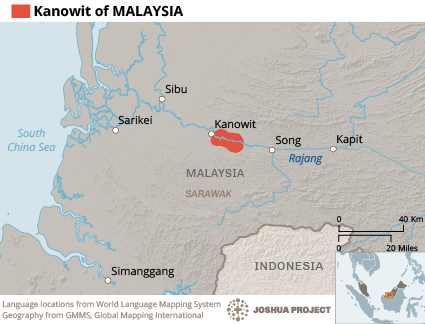 Map of Kanowit in Malaysia