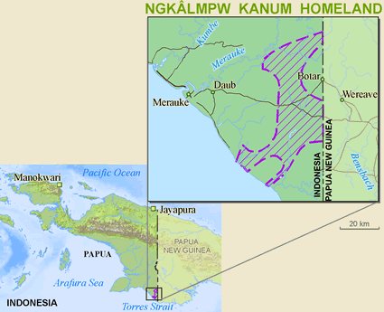 Map of Kanum, Enkelembu in Papua New Guinea