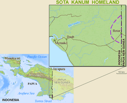 Map of Kanum, Sota in Papua New Guinea