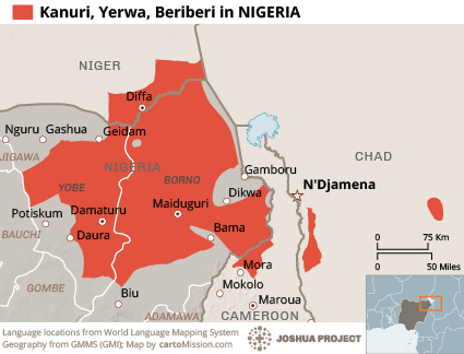 Map of Kanuri, Yerwa in Nigeria