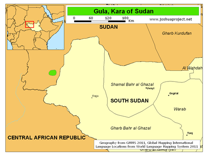 Map of Gula, Kara in Sudan