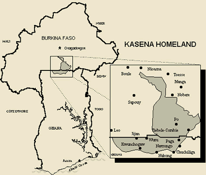 Map of Kasem in Ghana