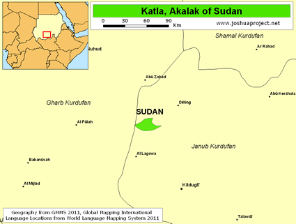 Map of Katla, Akalak in Sudan
