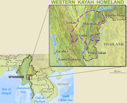 Map of Karen, Kayah Western in Myanmar (Burma)