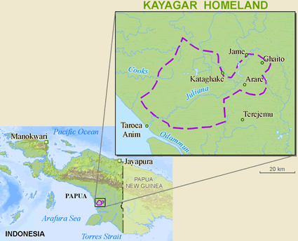 Map of Kayagar in Indonesia